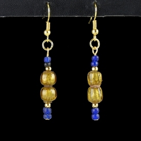 Earrings with Roman blue and gold foil glass beads