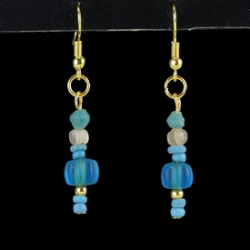 Earrings with Roman blue glass and melon beads