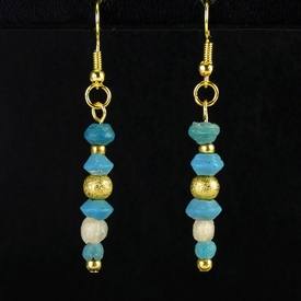 Earrings with Roman turquoise & semi-translucent glass beads
