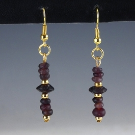 Earrings with Roman purple glass beads
