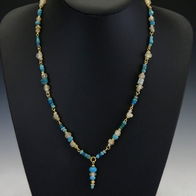 Necklace with Roman turquoise and semi-translucent beads