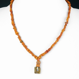 Necklace with Roman orange glass beads