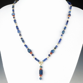 Necklace with Roman blue and red glass beads