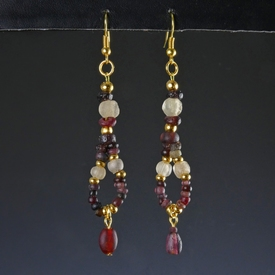 Earrings with Roman purple and semi-translucent glass beads