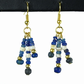 Earrings with Roman blue glass and shell beads
