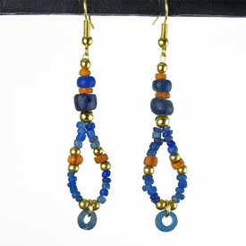 Earrings with Roman blue and orange glass beads