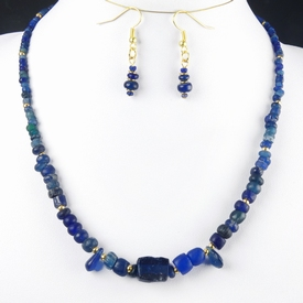 Necklace and earrings with Roman blue glass beads