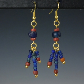 Earrings with Roman blue and red glass beads