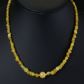 Necklace with Roman yellow glass beads