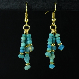 Earrings with Roman turquoise glass beads