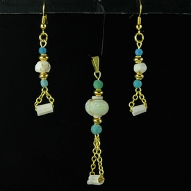 Pendant and earrings - Roman turquoise glass and shell beads