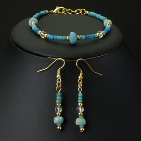 Bracelet and earrings with Roman turquoise glasss beads