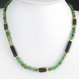 Necklace and earrings with Roman green glass beads