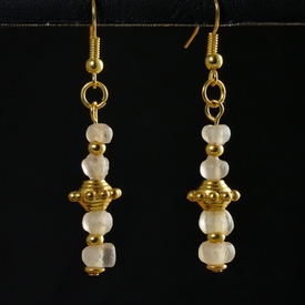 Earrings with Roman semi-translucent glass beads