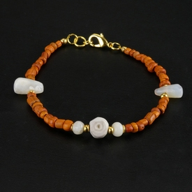 Bracelet with Roman orange glass, shell and stone beads