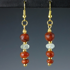 Earrings with Roman carnelian and crystal melon beads