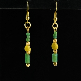 Earrings with Roman green and yellow glass beads