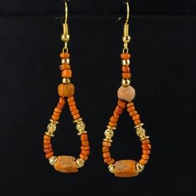 Earrings with Roman orange glass beads