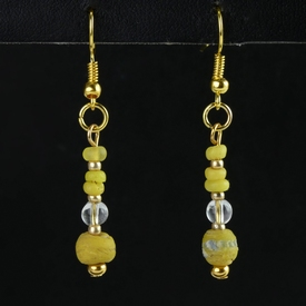 Earrings with yellow Roman glass beads