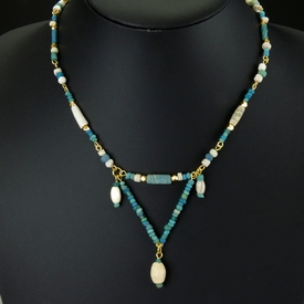 Necklace with Roman turquoise glass, shell and stone beads