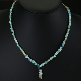 Necklace with Roman turquoise, faience and coral beads