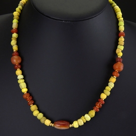 Necklace with Roman yellow glass and carnelian beads