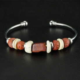 Bracelet with Roman red glass and shell beads