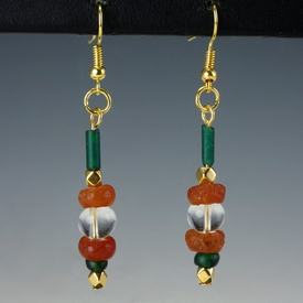 Earrings with Roman green glass and carnelian beads