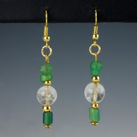 Earrings with Roman green glass & ancient rock crystal beads