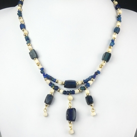Necklace with Roman blue glass and shell beads