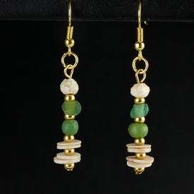Earrings with Roman green glass, shell and stone beads