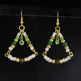 Earrings with Roman green glass and shell beads