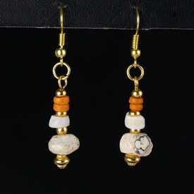 Earrings with Roman orange glass, shell and stone beads