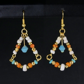 Earrings with Roman orange, turquoise glass and shell beads