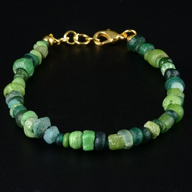 Bracelet with Roman green glass beads