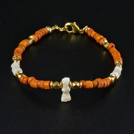Bracelet with Roman orange glass & shell beads, stone amulet