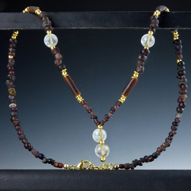 Necklace with Roman purple glass and ancient crystal beads