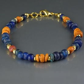 Bracelet with Roman orange and blue glass beads
