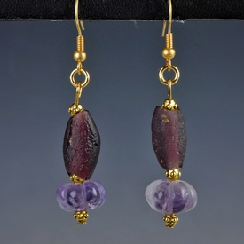 Earrings with Roman purple glass and amethyst melon beads