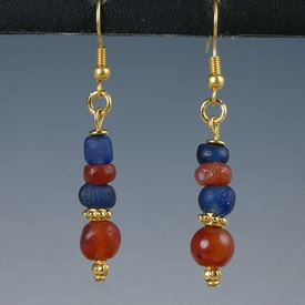 Earrings with Roman blue glass and carnelian beads