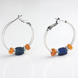 Earrings with Roman orange and blue glass beads