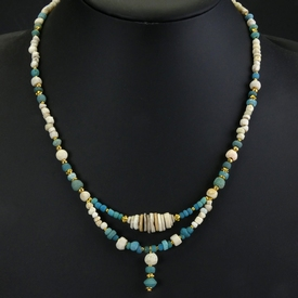 Necklace with Roman turquoise glass, shell and amulet beads