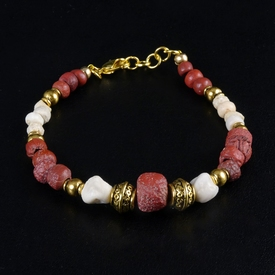 Bracelet with Roman red glass, stone and shell beads