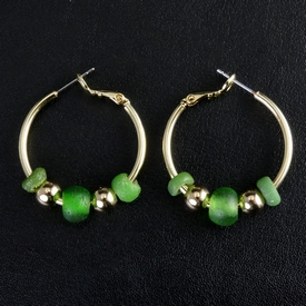 Earrings with Roman green glass beads