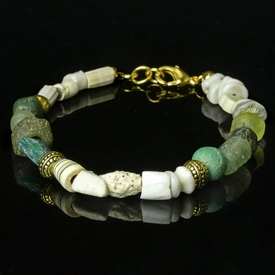 Bracelet with Roman green glass, shell and stone beads