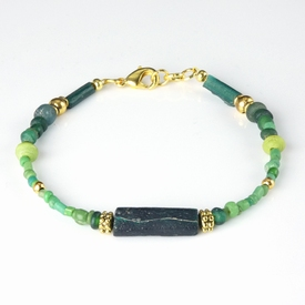 Bracelet with Roman green glass beads