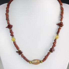 Necklace with Roman red glass, jasper and agate beads