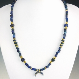 Necklace with Roman blue glass and amulet beads