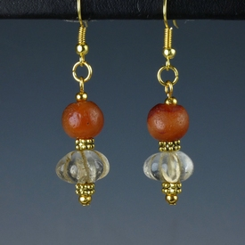 Earrings with Roman carnelian and rock crystal melon beads