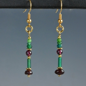 Earrings with Roman green glass and garnet beads